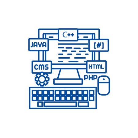 Programming,coding,wed developer line concept icon. Programming,coding,wed developer flat  vector website sign, outline symbol, illustration.
