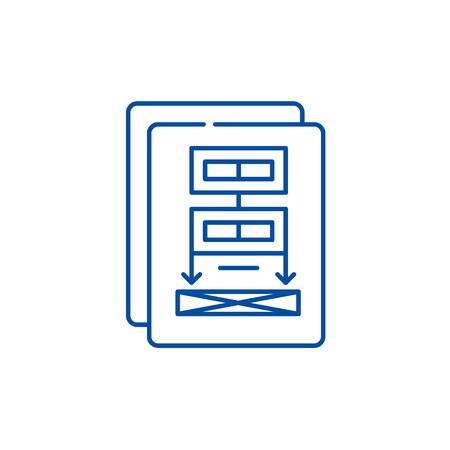 Project documentation line concept icon. Project documentation flat  vector website sign, outline symbol, illustration.  イラスト・ベクター素材