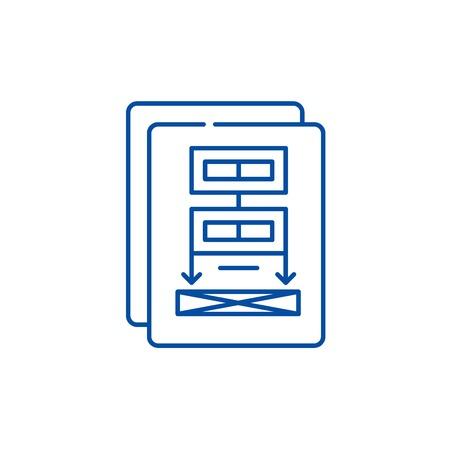 Project documentation line concept icon. Project documentation flat  vector website sign, outline symbol, illustration. Stockfoto - 120021497