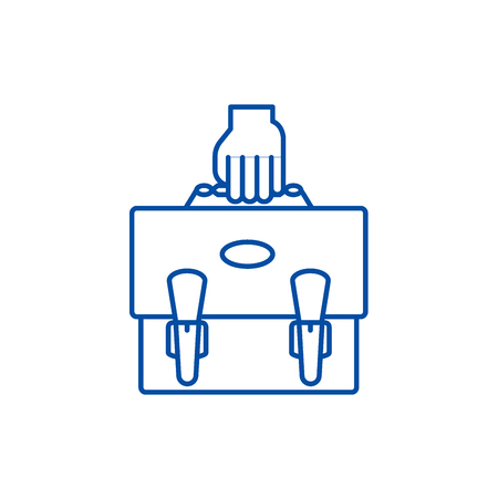 Project portfolio line concept icon. Project portfolio flat  vector website sign, outline symbol, illustration.