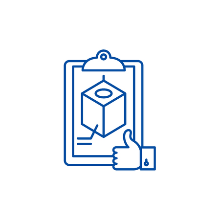 Project recognition line concept icon. Project recognition flat  vector website sign, outline symbol, illustration. Ilustração