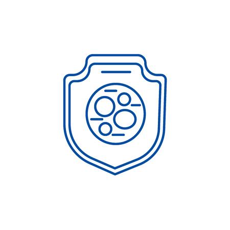 Protection from bacteria,safety shield line concept icon. Protection from bacteria,safety shield flat  vector website sign, outline symbol, illustration. Illustration