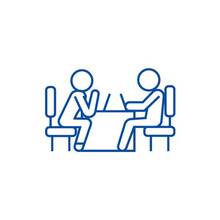 Psychologist and patient line concept icon. Psychologist and patient flat  vector website sign, outline symbol, illustration.