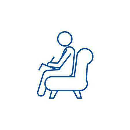 Psychologist,consultant  line concept icon. Psychologist,consultant  flat  vector website sign, outline symbol, illustration.