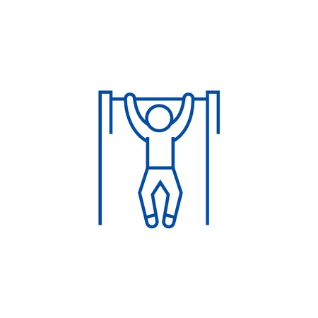 Pull up, workout, street exercise line concept icon. Pull up, workout, street exercise flat  vector website sign, outline symbol, illustration. Illustration