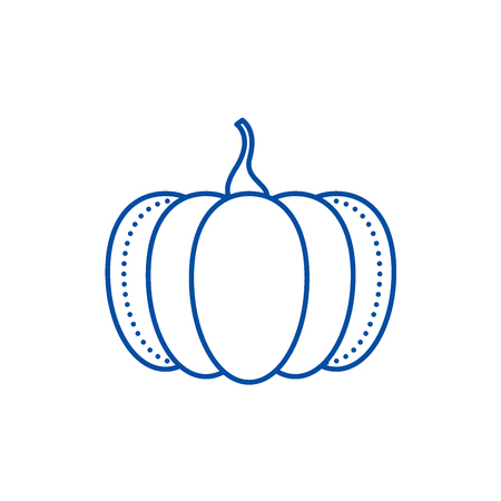 Pumpkin line concept icon. Pumpkin flat  vector website sign, outline symbol, illustration.