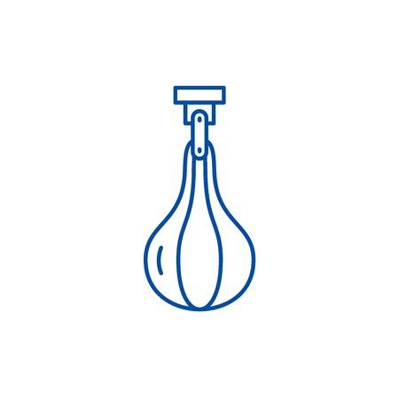 Punching bag line concept icon. Punching bag flat  vector website sign, outline symbol, illustration.