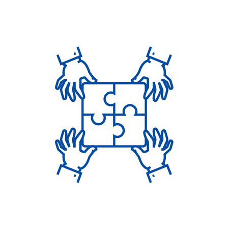 Puzzle pieces,strategy line concept icon. Puzzle pieces,strategy flat  vector website sign, outline symbol, illustration.