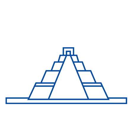 Pyramid line concept icon. Pyramid flat  vector website sign, outline symbol, illustration.