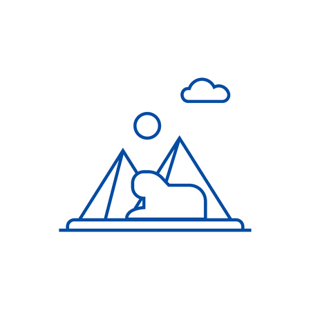 Pyramids,egypt line concept icon. Pyramids,egypt flat  vector website sign, outline symbol, illustration. Illustration