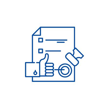 Icona del concetto di linea del sistema di controllo qualità. Sistema di controllo qualità sito web piatto vettore segno, simbolo di contorno, illustrazione. Vettoriali