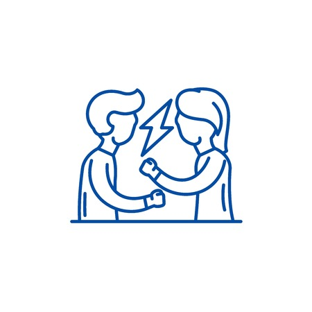 Quarrel line concept icon. Quarrel flat  vector website sign, outline symbol, illustration.