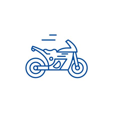 Race bike line concept icon. Race bike flat  vector website sign, outline symbol, illustration.