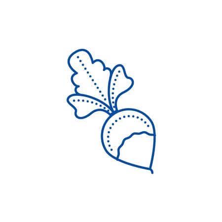 Radish line concept icon. Radish flat  vector website sign, outline symbol, illustration. Ilustração