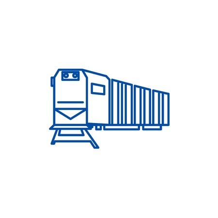 Railway logistics,train,cargo line concept icon. Railway logistics,train,cargo flat  vector website sign, outline symbol, illustration.