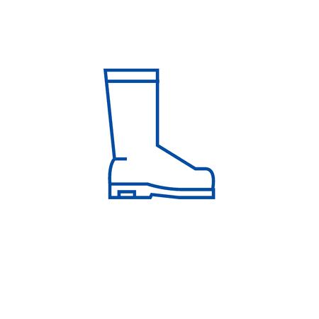 Rain boots line concept icon. Rain boots flat  vector website sign, outline symbol, illustration.