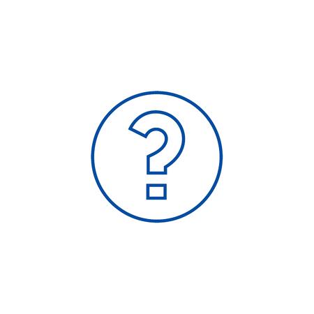 Vraag lijn icoon concept. Vraag platte vector website teken, overzichtssymbool, afbeelding.