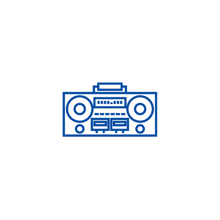 Record tape player line concept icon. Record tape player flat  vector website sign, outline symbol, illustration.