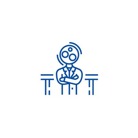 Recruitment officer,analytics manager line concept icon. Recruitment officer,analytics manager flat  vector website sign, outline symbol, illustration.