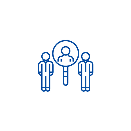 Recruitment with zoom line concept icon. Recruitment with zoom flat  vector website sign, outline symbol, illustration.