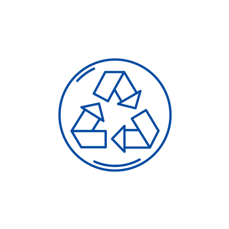 Recycling line concept icon. Recycling flat  vector website sign, outline symbol, illustration. Archivio Fotografico - 120074170
