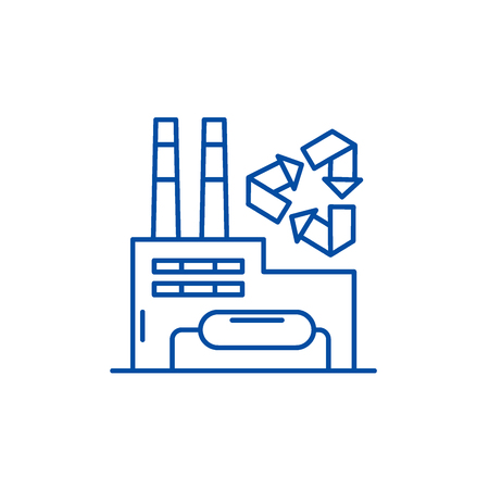 Recycling plant line concept icon. Recycling plant flat  vector website sign, outline symbol, illustration. Иллюстрация