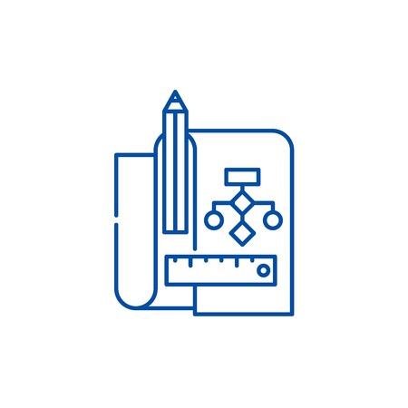 Refactoring line concept icon. Refactoring flat  vector website sign, outline symbol, illustration.