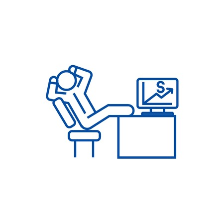 Relaxing business man sitting at desk line concept icon. Relaxing business man sitting at desk flat  vector website sign, outline symbol, illustration. Illustration
