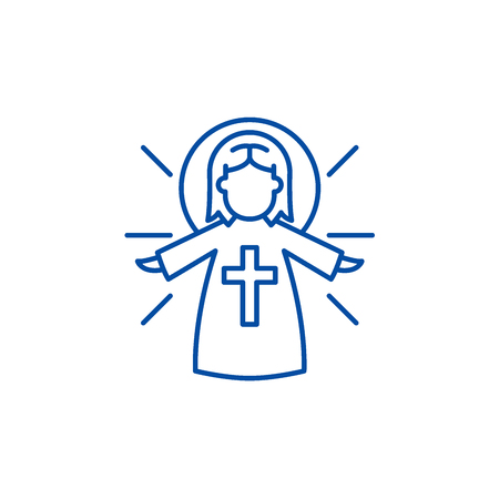 Religious angel line concept icon. Religious angel flat  vector website sign, outline symbol, illustration. Imagens - 120074187