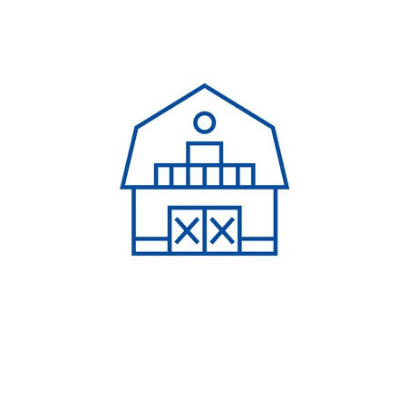 Ranch house line concept icon. Ranch house flat  vector website sign, outline symbol, illustration.
