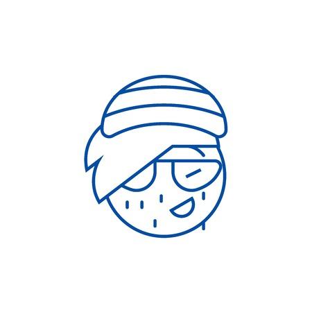 Rasta emoji line concept icon. Rasta emoji flat  vector website sign, outline symbol, illustration. Illustration