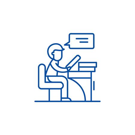 Reader line concept icon. Reader flat  vector website sign, outline symbol, illustration. Illustration