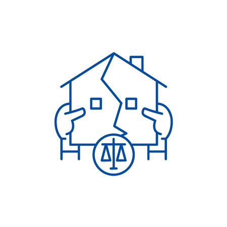 Real estate law line concept icon. Real estate law flat  vector website sign, outline symbol, illustration.