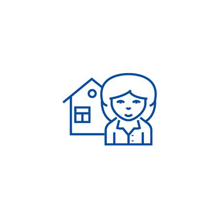 Realtor line concept icon. Realtor flat  vector website sign, outline symbol, illustration.