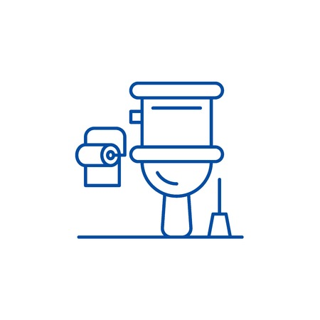 Restroom line concept icon. Restroom flat  vector website sign, outline symbol, illustration. Archivio Fotografico - 120021834
