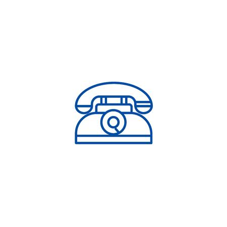Retro phone line concept icon. Retro phone flat  vector website sign, outline symbol, illustration. 写真素材 - 120021842