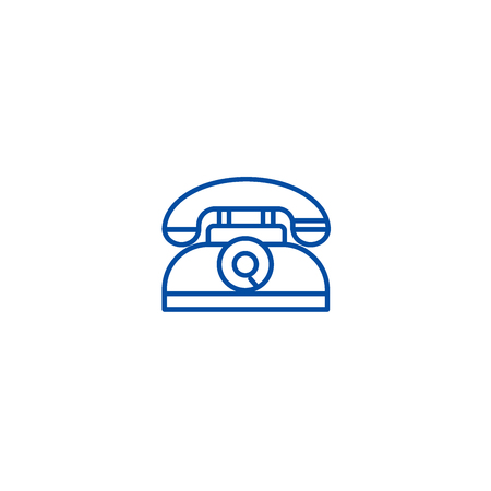 Retro phone line concept icon. Retro phone flat  vector website sign, outline symbol, illustration.