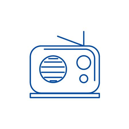 Radio reciever line concept icon. Radio reciever flat  vector website sign, outline symbol, illustration. Banque d'images - 120021844
