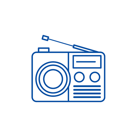 Radio reciever sign line concept icon. Radio reciever sign flat  vector website sign, outline symbol, illustration.