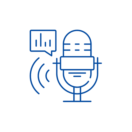 Radio show line concept icon. Radio show flat  vector website sign, outline symbol, illustration. Иллюстрация