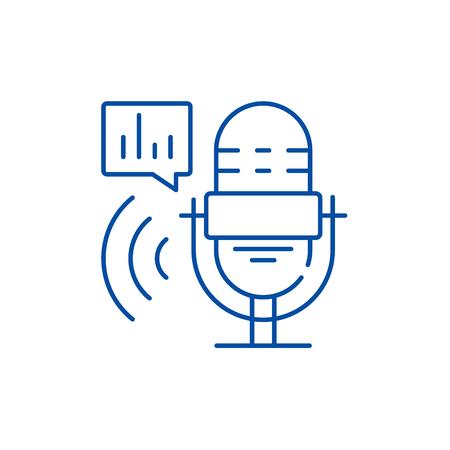 Radio show line concept icon. Radio show flat  vector website sign, outline symbol, illustration. Illustration
