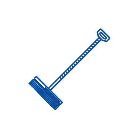 Rake,raker line concept icon. Rake,raker flat  vector website sign, outline symbol, illustration. Çizim