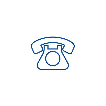 Retro phone  line concept icon. Retro phone  flat  vector website sign, outline symbol, illustration.