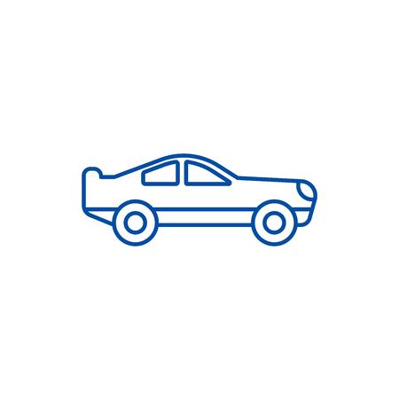 Retro racing car  line concept icon. Retro racing car  flat  vector website sign, outline symbol, illustration.