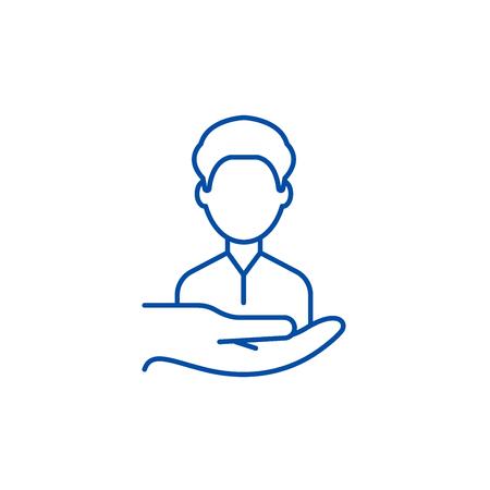 Icône de concept de ligne client de retour. Retourner les clients à plat vector signe de site Web, symbole du contour, illustration.