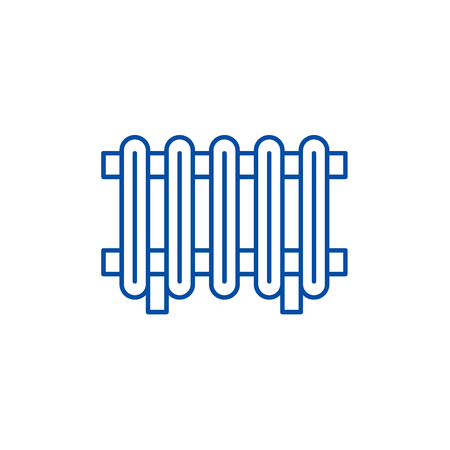 Radiator line concept icon. Radiator flat vector website sign, outline symbol, illustration.