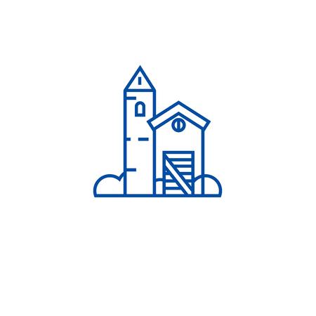 Ranch farm house line concept icon. Ranch farm house flat  vector website sign, outline symbol, illustration.