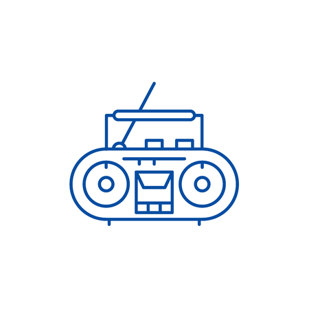 Record player line concept icon. Record player flat  vector website sign, outline symbol, illustration.