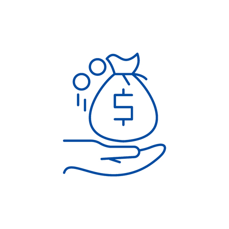 Receiving the money line concept icon. Receiving the money flat  vector website sign, outline symbol, illustration.