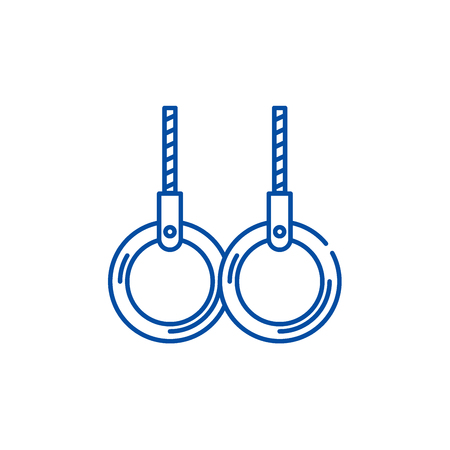 Rings for gymnastics line concept icon. Rings for gymnastics flat  vector website sign, outline symbol, illustration. Illustration